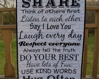 Wall Hanging Quilt Family Rules Printed Words Door Banner