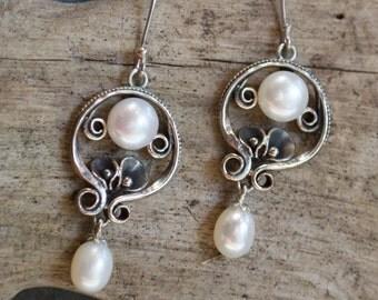 Bridal Earrings, silver earrings,  botanical earrings, dangle earrings,  drop pearl earrings,chandelier earrings - Make a wish E2151A