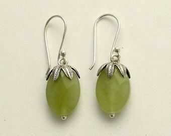 Green jade earrings, Dangle earrings. botanical earrings, woodland earrings, green stone earrings, stone earrings, silver leaf top. E2068-2