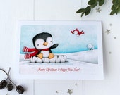 "greeting card - card - penguin - bird - christmas - winter -blue - red - ""Hello Friend!"""