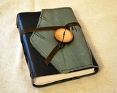 Medium Blue Leather Patchwork Journal with Recycled Paper