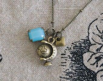 Bronze Traveler/Teacher Charm Necklace