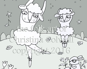"Adult Coloring Page Dancing Sheep in Tutus  Download 8"" X 10"" printable, Stitchery, Clip Art, Digital Stamp, Scrapbook, Art Journal"