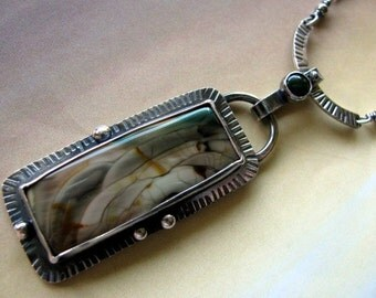 Sterling Silver Pendant Necklace, Handmade Imperial Jasper Pendant, Oxidized Silver Necklace