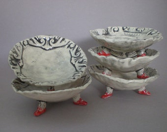 Footed Bowls - Ceramic footed bowls, functional ceramic bowls, black and white decorative bowls