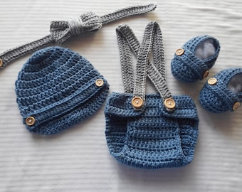 Crochet Baby Infant Boy Diaper Cover Set Photo Prop Shower Gift MADE TO ORDER
