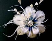 Something Blue Bridal Fascinator, Teal Peacock Weddings, Feather Headpiece, Flower Brooch, ART NIRVANI