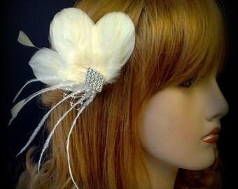 Bridal Hair Fascinator, Art Deco Wedding Headpiece, Feather Hair Clip, Geometric Bridal Headpiece, PORTIA