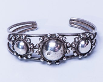 Navajo Satellite Bracelet - Mid Century Sterling Dome Cuff