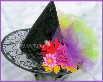 Ready to Ship -  Girls Witch Hat,  Floral and Feather  Witch Hat, Halloween, Costume, Party  fits 1yr thru 5yrs