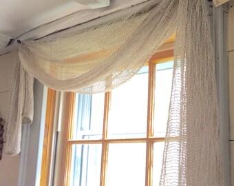 Curtain naturally dyed  swag  eco friendly hand woven Maine coast  earthy decor
