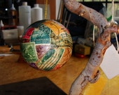postage stamp round ornament
