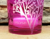 Personalized Includes Gift Box FREE SHIPPING Pink 'Tree Of Love' Engraved Glass Votive Holder Valentine's Day Gift