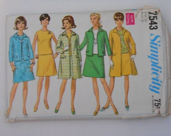 Vintage 60s Coat Jacket Overblouse and Skirt Pattern Simplicity 7543 Size 1614 Bust 38 UNCUT