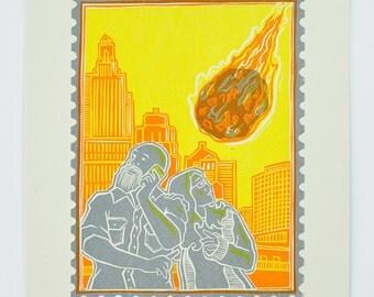 Just a Sec - Asteroid : Limited Edition Letterpress Linocut Print