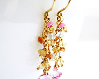 SALE 20% OFF, Luxe Pink Topaz Earrings, Gemstone Earrings, Gold Vermeil, Gold Filled Earrings, Exquisite Gift, Ready To Ship