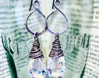 Sterling Silver Infinity Hoops with Aurora Borealis Swarovski Teardrops