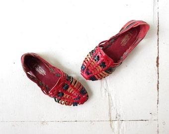 Vintage Huarache Sandals / Multicolor Huaraches / 80s Sandals / Size 6