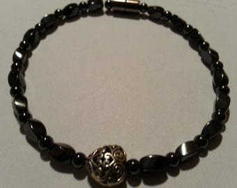Magnetic Hematite Anklet with Silver Celtic Style Heart in Center