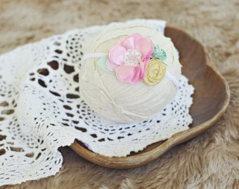 baby and toddler headband // photography prop // newborn photo prop // shabby chic // vintage // pink yellow mint // sunshine and summertime