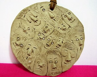 Vintage Studio Pottery Face of Many Wall Plaque Many Faces Signed by A. Reblla Mid Century Art