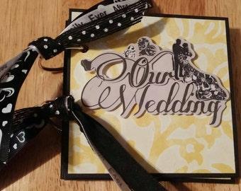 SALE! Beautiful Wedding Mini Scrapbook Chipboard Album, Yellow White & Black 4x4, Brag Book, Smash Book
