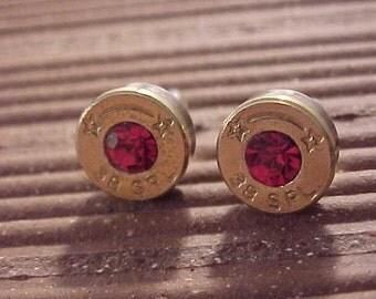 Sterling Silver Bullet Earrings 38 Special Ruby Swarovski Crystal