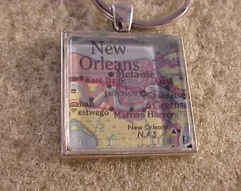 Atlas Map Key Chain / New Orleans Key Ring / Map Key Ring