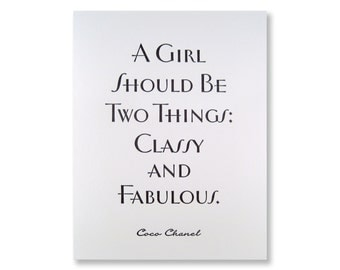 Letterpress Card Classy Fabulous Coco Chanel Quote Greeting Card