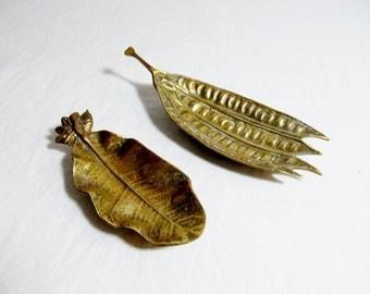 Virginia Metal Crafters Brass  Leaf Dishes  Mimosa Seedpod  Lemon  Leaves