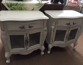 Set of French Provincial Night Stands / End Tables with Wire Mesh Doors