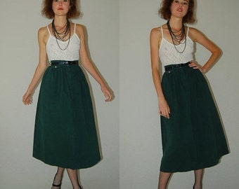 SALE SALE Vintage 70s Forest Green High Waist Preppy Indie Midi Skirt (xs)