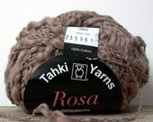 Tahki Yarns Rosa . mink 05 . 93yd 85m . bulky chunky thick and thin spun cotton slub yarn . hot cocoa brown . discount yarn