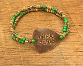 Guitar Pick Bracelet Music Heals rustic distressed hand stamped inspirational saying phrase words quote rocker musician green bronze
