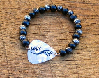 Guitar Pick Bracelet Infinity Love NYC with Black and Silver Wood Beads New York City rocker musician music unisex white travel Manhattan