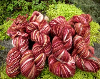 Handspun yarn, handpainted yarn, wool bulky thick and thin worsted yarn-Red Skye