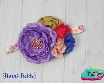 baby headband { Floral Fields } purple peach mustard, fuschia, vintage, Cake smash, first birthday shabby chiffon Flower photography prop
