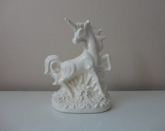 VINTAGE white ceramic UNICORN FIGURINE