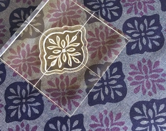 Block Print Fabric Stamp Set in Batik style - Set of  Six Clear Stamps - Bohemian Dreams