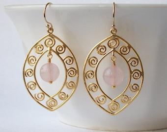 Pink Rose Quartz Dangle, Earrings, Pink Blush Earrings, Rose Quartz Jewelry