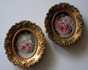 Paul de Longpre, Roses, Art Print, Two Barbola Convex Glass Frame, Shabby Chic Decor, Framed Art, Cameo Creations