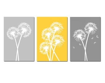 Modern Dandelion Trio Yellow and Grey - Set of Three 13x19 Floral Prints - CHOOSE YOUR COLORS - Shown in Pale Gray, Yellow, Gray