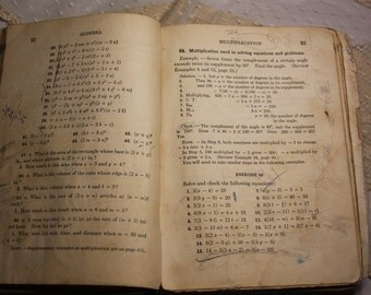 Vintage Math BOOK 1927- Sepia pages with Script and Scribble- Collage or Scrapbooking Art Supply