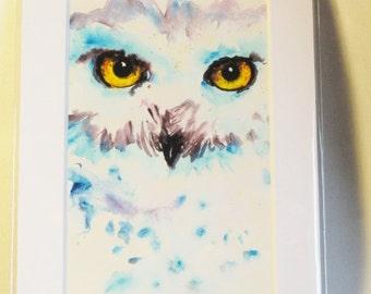 Modern Owl art, Snowy Owl art, white owl art, Owl print, modern owl art, Owl wall art
