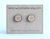Sand Dollar earrings - alder laser cut wood earrings - Beach earrings