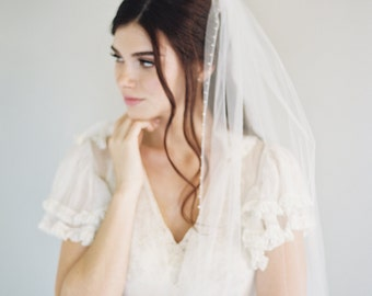 Lace Bridal Veil, Swarovski Crystal Wedding Veil, Veil, Tulle Lace Veil, Lace Applique Veil, Cathedral Veil, Single Layer Veil, 1609