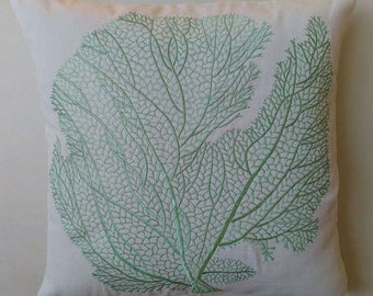 Mint green coral pillow sea themed, coastal inspired pillow 20 inches