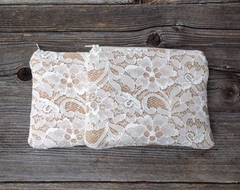 Lace Clutch, Mother of the Bride Gift, Grandmother Gift, Cosmetic Bag, Bridal Party Gifts, Bridal Shower Gift, Romantic Wedding Bag