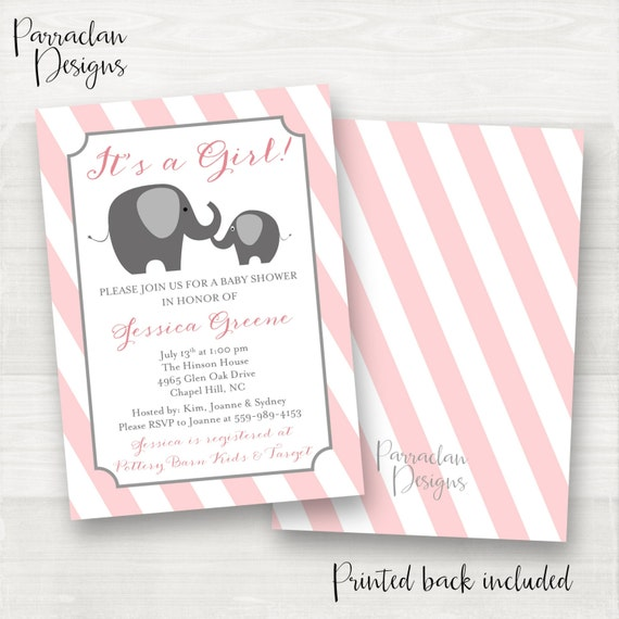 Elephant Baby Shower Invitation | Pink Elephant Baby Shower Invitation | Pink | Grey | Digital | Printable {BS49}
