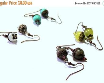 ONSALE Antique Copper Filigree Earring Sets  Dangle Beaded Gemstone Earring Sets Top Selling Jewelry Popular Jewelry Gift Ideas Copper Earri
